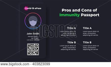 Covid-19 Vaccine Immunity Mobile App Passport. Pros And Cons. Dark Vector Infographic. Coronavirus P