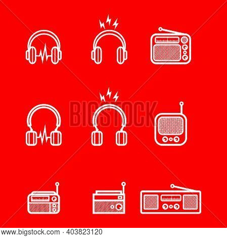 Headphones And Old Styled Radio Silhouette Set - Headphones And Vintage Radio Set For Music Icon Iso