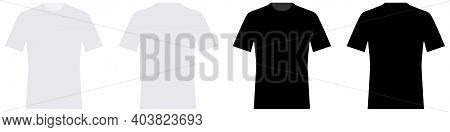T-shirt Mockup. Template White And Black T-shirt Front And Back View In Flat Design For Print. T-shi