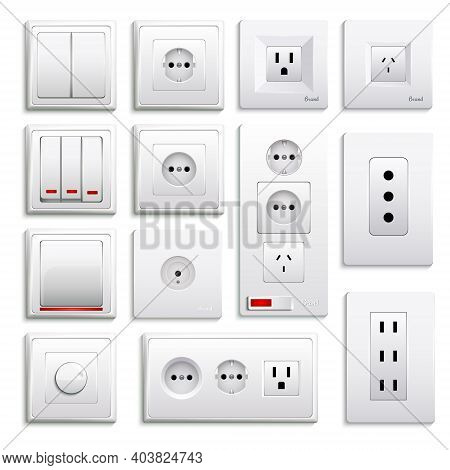 Set Of Realistic Switches And Sockets Of Various Type Isolated On White Background 3d Vector Illustr
