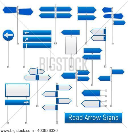 Blue Arrow Road Signs Signals Realistic Traffic Regulation  Roadsigns Collection Indicating Directio