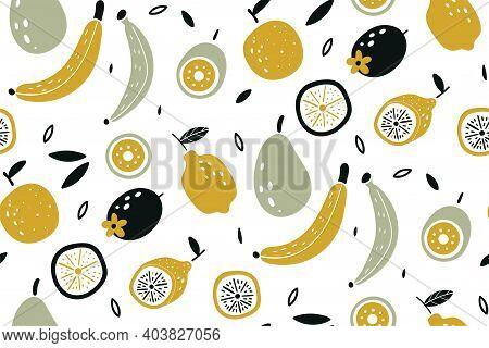 Doodle Fruits. Vegan Kitchen Apple Hand Drawn, Organic Fruits Or Vegetarian Food. Colorful Wallpaper