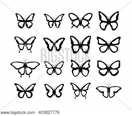 Butterfly. Butterflies Vector Icons, Isolated. Butterfly In Flat Design. Vector Illustration