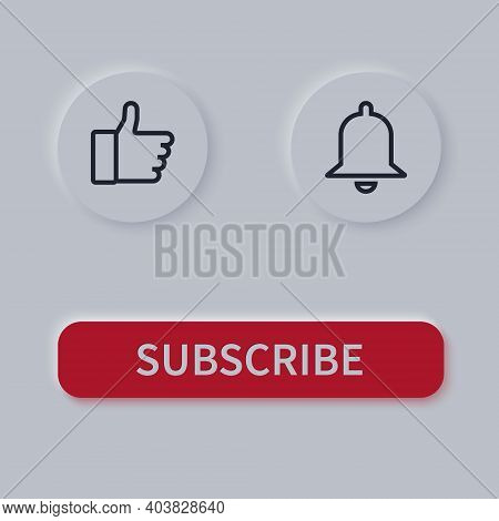 Subscribe Buttons. Red With White Buttons Subscribe. Bell And Like Button. Vector Illustration