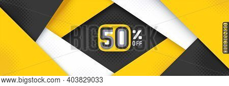 Geometric Striped Font Numbers. Yellow, Black And White Layered Backdrop Vector Illustration