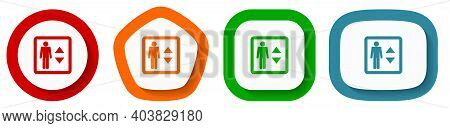 Elevator, Lift Vector Icon Set, Flat Design Buttons On White Background