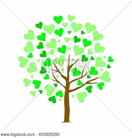 Abstract Tree With Green Heart Leaf On White Isolated Background. Tree Of Love. Save World. Conserva