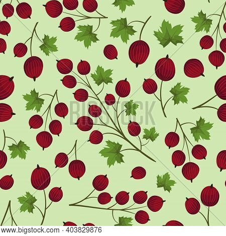 Vector Seamless Pattern With Red Gooseberry; For Wrapping Paper, Packaging, Fabric, Textile, Etc.