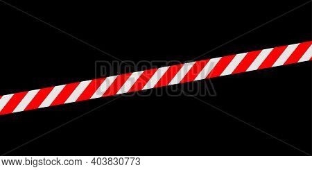 Red White Caution Tape Line Isolated On Black For Banner Background, Tape Red White Stripe Pattern,
