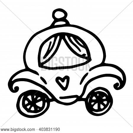 Vector Icon Of The Outline Of The Princess Carriage From A Fairy Tale . Thin Line Black Cinderella C