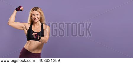 Do Your Best, Fit Body, Challenge And Your Choice. Happy Middle Aged Female In Sportswear Shows Bice