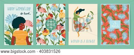 International Women S Day. Set Of Vector Templates With Cute Women And Flowers For Card, Poster, Fly