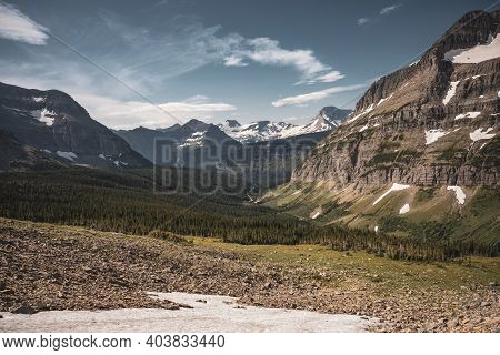 Looking Toward Logan Pass From Piegan Pass In Glacier National Park