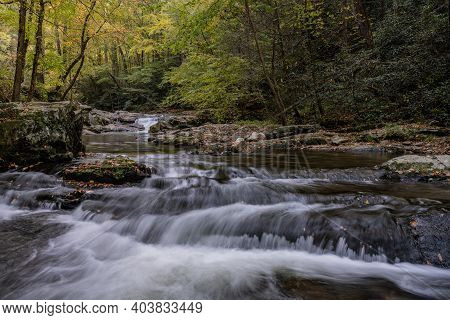 Low Angle Of Rushing Tremont Creek In Great Smoky Mountains National Park