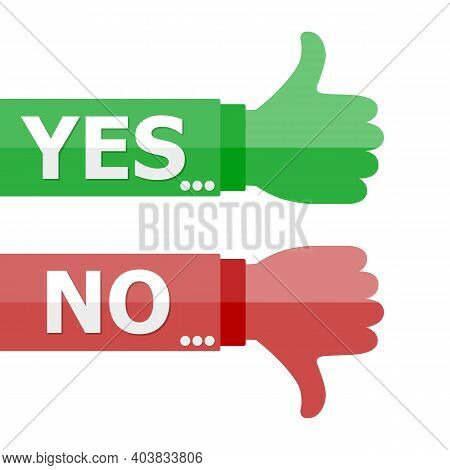 Thumb Up And Down Signs In Flat Design. Vector Illustration. Like And Dislike Concept.