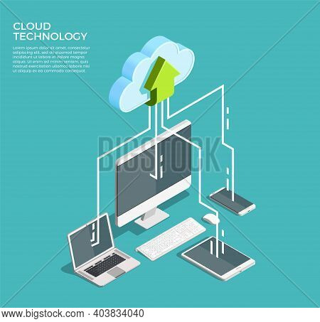 Cloud Computing Technology Users Network Configuration Isometric Advertisement Poster With Pc Monito