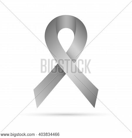 Symbol Of The World Parkinson's Day. Vector Illustration. Gray Awareness Ribbon, Isolated On White B