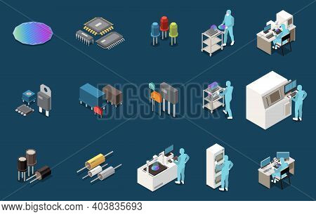 Semiconductor Chip Production Isometric Set With Isolated Icons Of Electronic Components Circuitry L