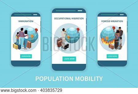 Population Mobility Migration Displacement Set Of Three Vertical Banners With Isometric Images And L