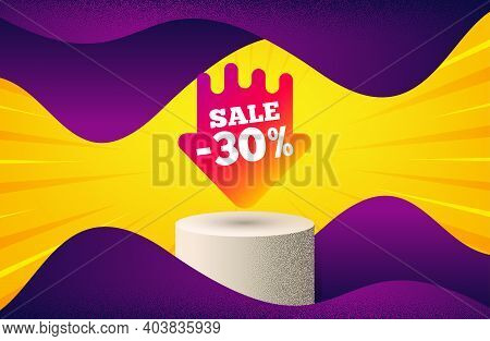 Sale 30 Percent Off Sticker. Background With Podium Platform. Discount Banner Shape. Coupon Arrow Ic