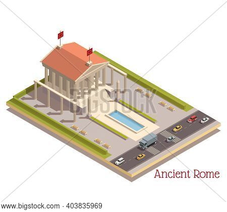 Ancient Rome Tourists Attractions Landmark In Modern Surroundings Isometric Composition With Pantheo