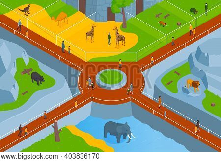 Isometric Zoo Horizontal Composition With Birds Eye View Of Zoological Park With Lanes Animals And V