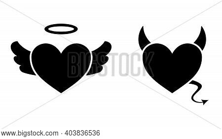 Heart With Devil Horns And A Tail And Heart With Angel Wings And Halo Isolated On White Background,
