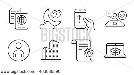 Job Interview, Skyscraper Buildings And Passport Document Line Icons Set. Love Night, Swipe Up And O