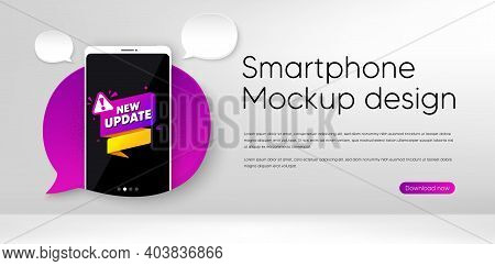 New Update Paper Banner. Mobile Phone Vector Mockup. Important Message Tag. Exclamation Mark Icon. S