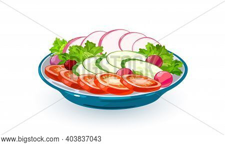 Bowl With Fresh Veggies, Slices Of Tomatoes, Cucumbers, Lettuce And Radish. Vector Vegetarian Meal P