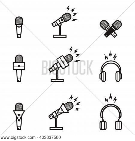 Silhouette Of Broadcasting Microphone Set For News Anchor, News Live, Television Or Infotainment New