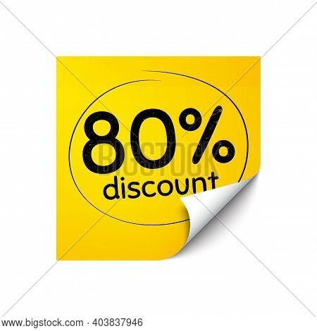 80 Percent Discount. Sticker Note With Offer Message. Sale Offer Price Sign. Special Offer Symbol. Y