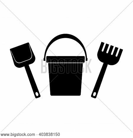 Baby Bucket, Spade And Rake Icons Isolated On White Background. Toys Icon Set For Children Sandbox A