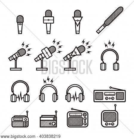 Silhouette Microphone, Headphone And Vintage Radio With Lightning Sign For News Anchor, News Live, I