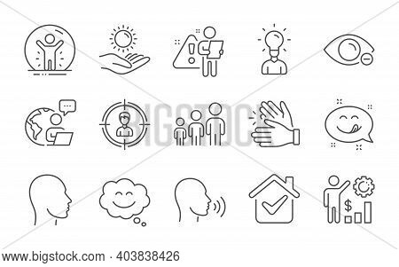 Human Sing, Headhunting And Head Line Icons Set. Education, Myopia And Clapping Hands Signs. Sun Pro
