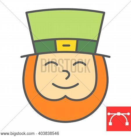 Leprechaun Irish Character Color Line Icon, St. Patricks Day And Holiday, Leprechaun Vector Icon, Ve