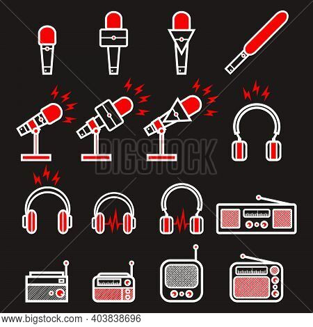 Red And White Broadcasting Microphone, Headphone And Vintage Radio With Lightning Sign For News Anch