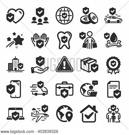 Insurance Icons. Health Care, Risk, Help Service. Car Accident, Flood Insurance, Flight Protection I