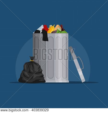 Steel Garbage Bin Full Of Trash. Trash Can With Rubbish Isolated On Blue Background. Wheelie Bin And