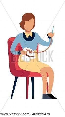 Woman Doing Needlework At Home. Female Character Sitting On Chair With Thread And Needle, Girl Embro
