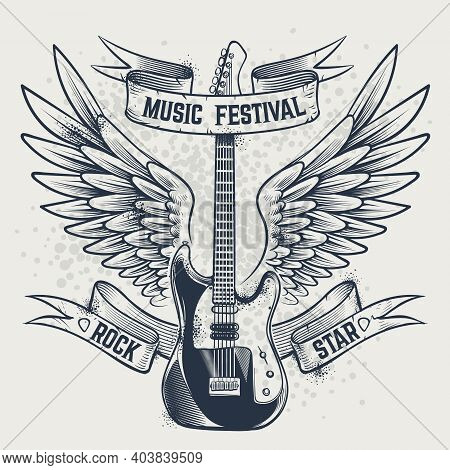 Guitar With Wings. Electric Guitar And Angel Wings In Sketch Style Template For Music Festivals Post