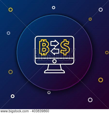 Line Cryptocurrency Exchange Icon Isolated On Blue Background. Bitcoin To Dollar Exchange Icon. Cryp