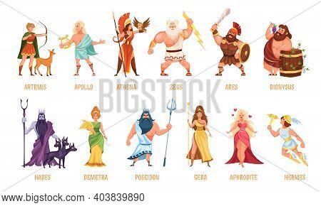 Greek Gods Pantheon. Mythological Olympian Gods, Ancient Greece Religion Women And Men Characters Wi