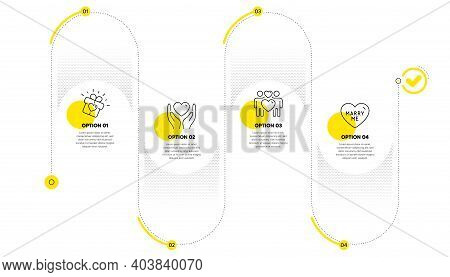 Hold Heart, Love Couple And Love Gift Line Icons Set. Timeline Process Infograph. Marry Me Sign. Fri