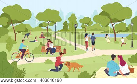People In Park. Happy Men And Women Sitting On Bench, City Summer Or Spring Park Walking, Group Yoga