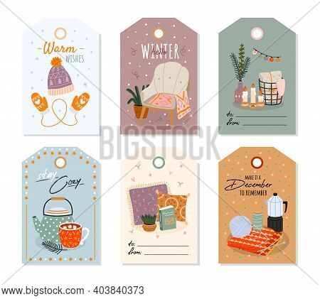 Cozy Home. Scandinavian Comfort Hand Drawn Interior Objects On Price Tags, Warm Cute Little Things F