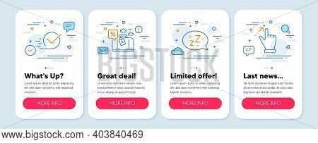 Set Of Technology Icons, Such As Sleep, Travel Loan, Checkbox Symbols. Mobile App Mockup Banners. To