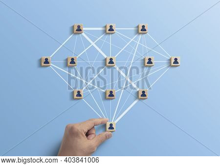 Human Resources Management, Teamwork Management Or Business Strategy To Success Concept. Hand Is Arr