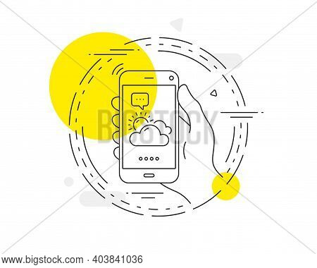 Sunny Weather Forecast Line Icon. Mobile Phone Vector Button. Clouds With Sun Sign. Cloudy Sky Symbo