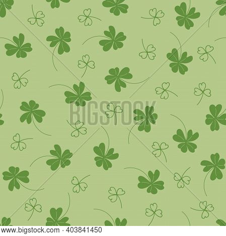 Floral Seamless Pattern. Saint Patricks Day Background With Shamrock. Vector Illustration In Green C